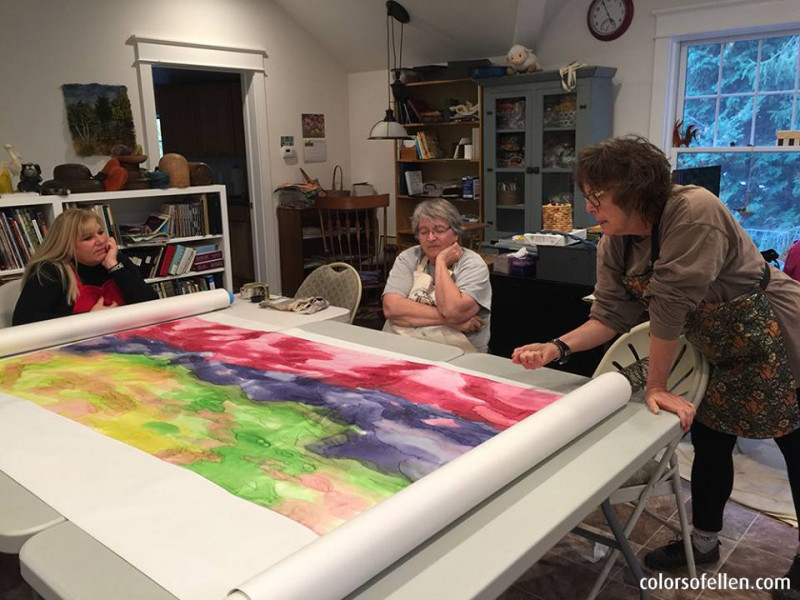 experimental silk painting and felting in Middle Grove New York